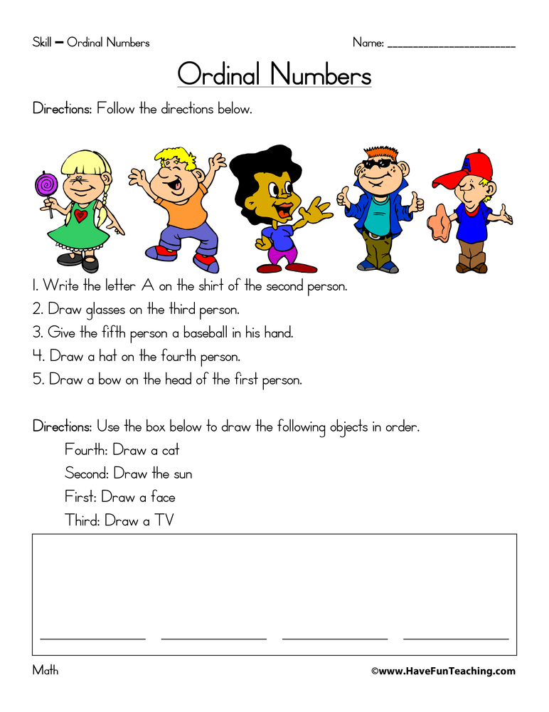 Resources Math Ordinal Numbers Worksheets