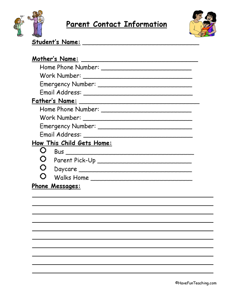 Parent Contact Information Form Have Fun Teaching - contact information form