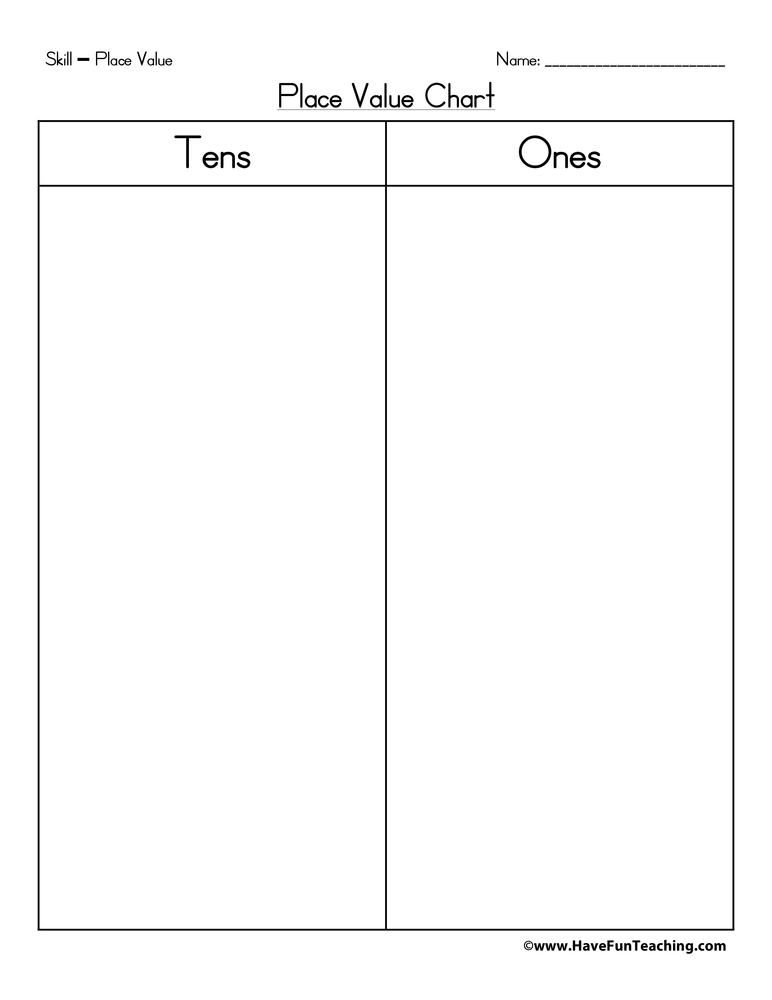 Place Value Chart - Tens, Ones Have Fun Teaching - place value chart