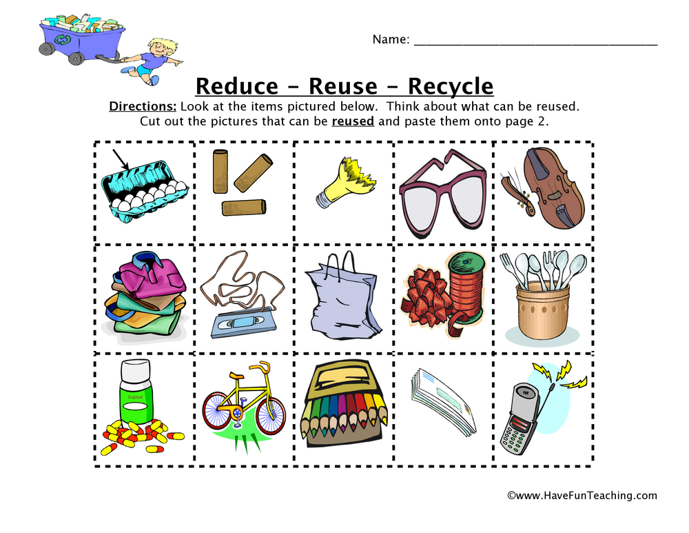 Reduce Reuse Recycle Worksheet