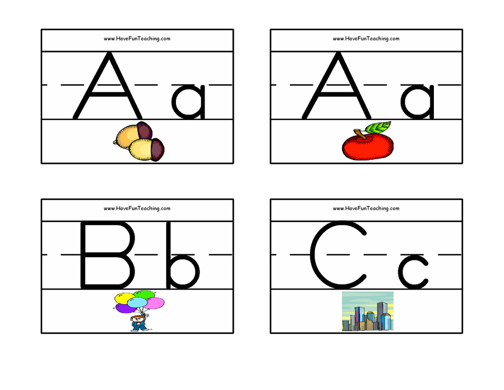 Alphabet Flash Cards - Zaner Bloser Pictures Have Fun Teaching