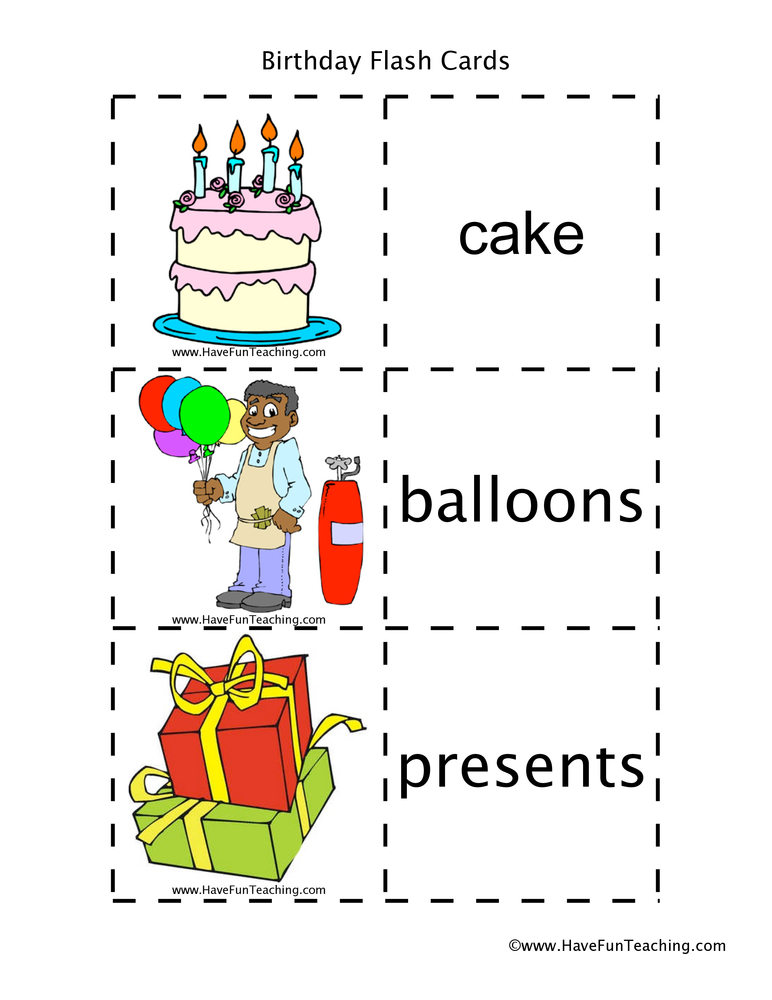 Birthday Flash Cards Have Fun Teaching - vocab cards