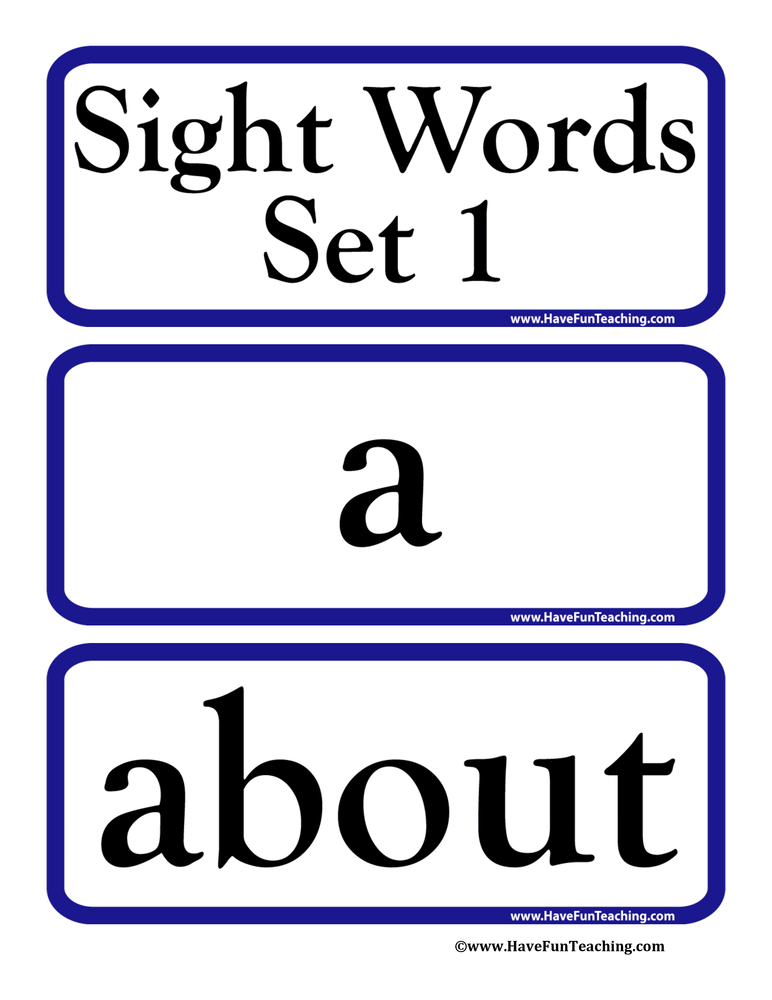 Sight Words Flash Cards - Set 1 - flash cards words