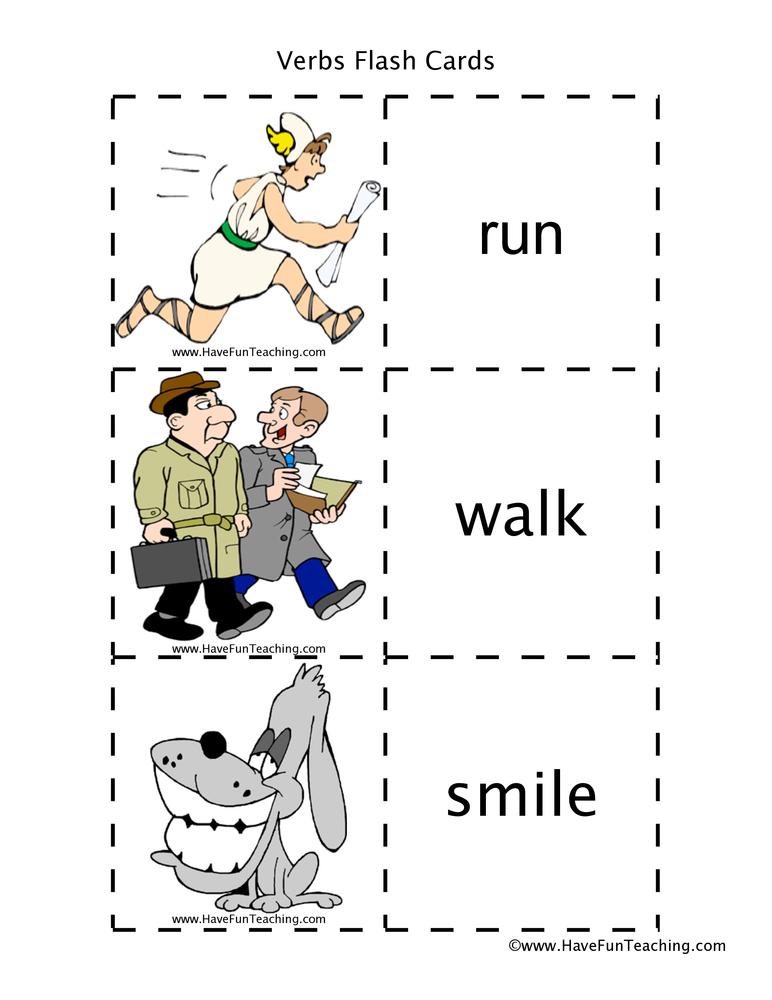Action Verbs Flash Cards Have Fun Teaching
