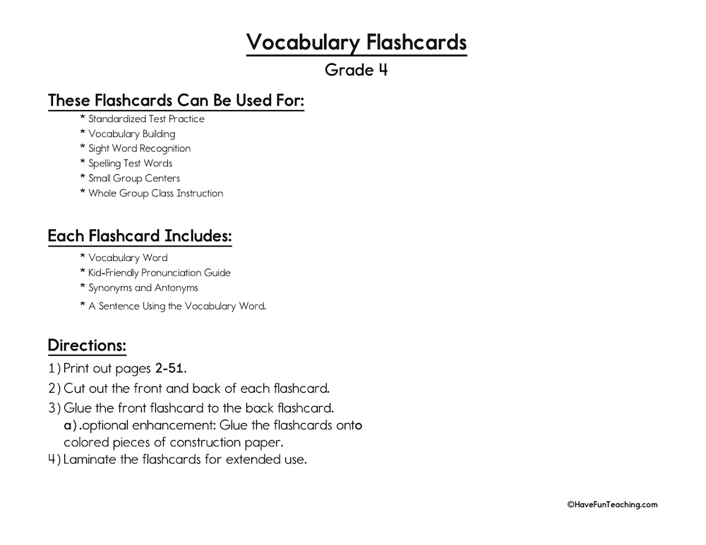 Fourth Grade Vocabulary Flash Cards Have Fun Teaching