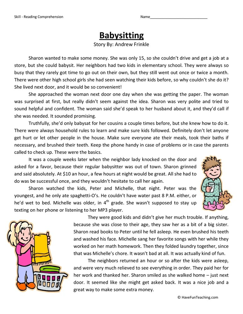 Babysitting - Reading Comprehension Worksheet - babysitting information sheets