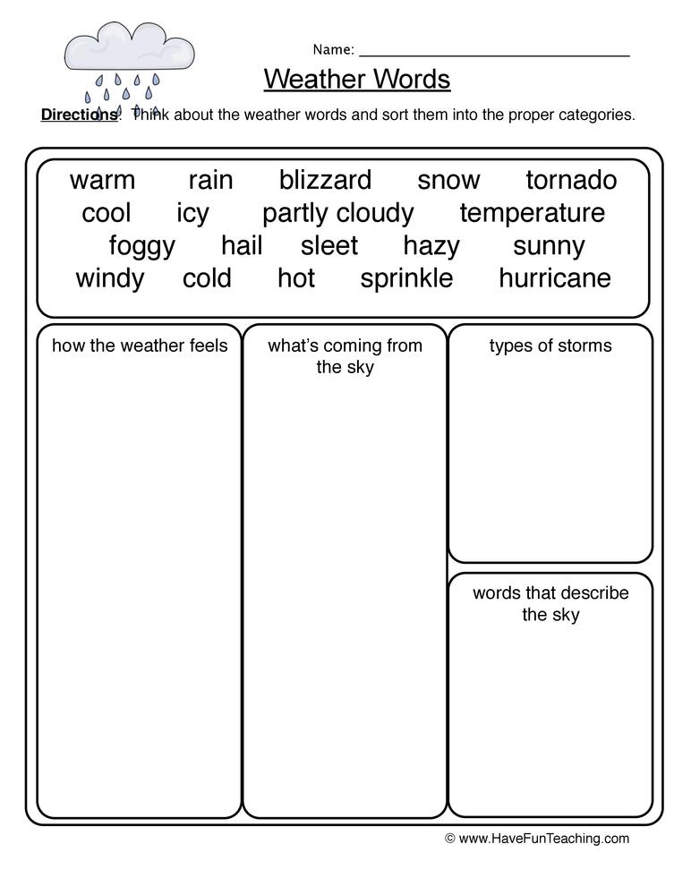 Weather Words Worksheet Have Fun Teaching