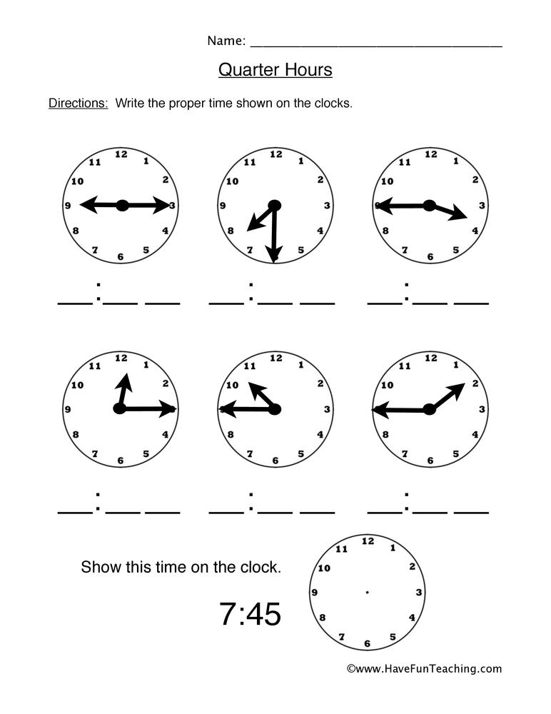 Telling Time Worksheets Have Fun Teaching
