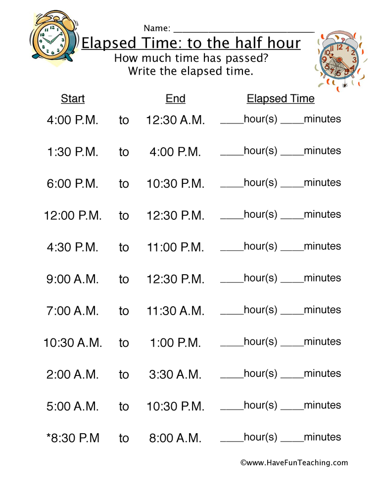 Resource Math Elapsed Time Half Hour Worksheet 1 - time worksheets