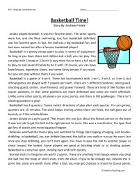Basketball Time - Reading Comprehension Worksheet