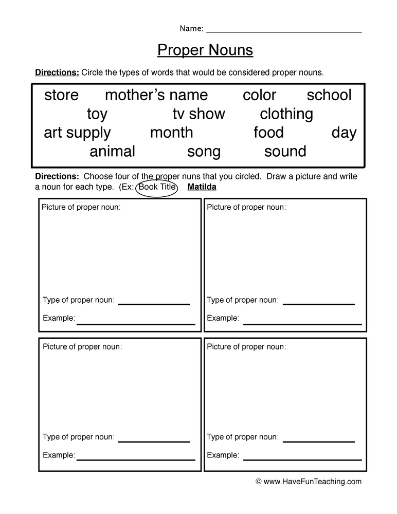English Proper Nouns Worksheets Resources