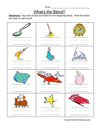 Beginning Consonant Blends Worksheets - Kidz Activities