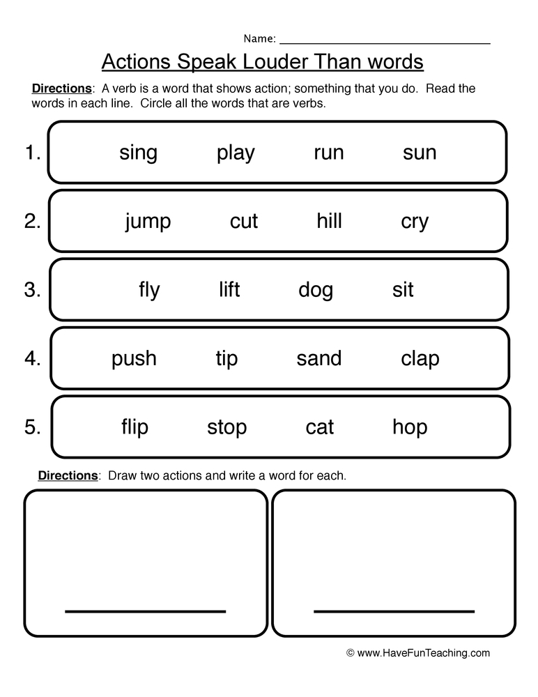 Action Words Worksheet Have Fun Teaching - all action verbs