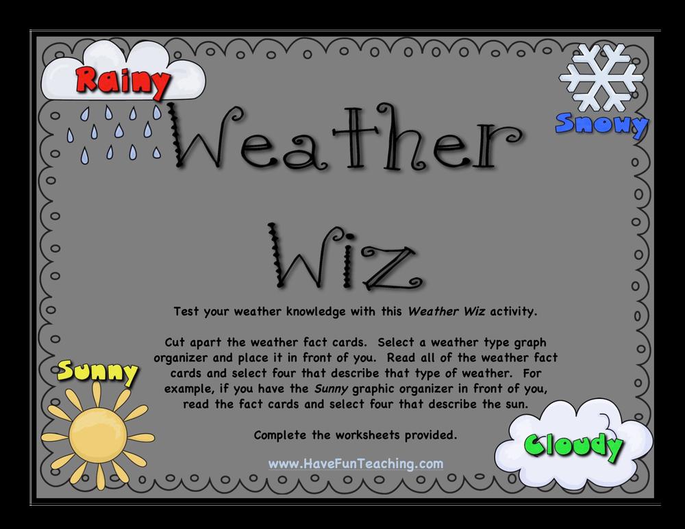 Weather Wiz Activity Have Fun Teaching