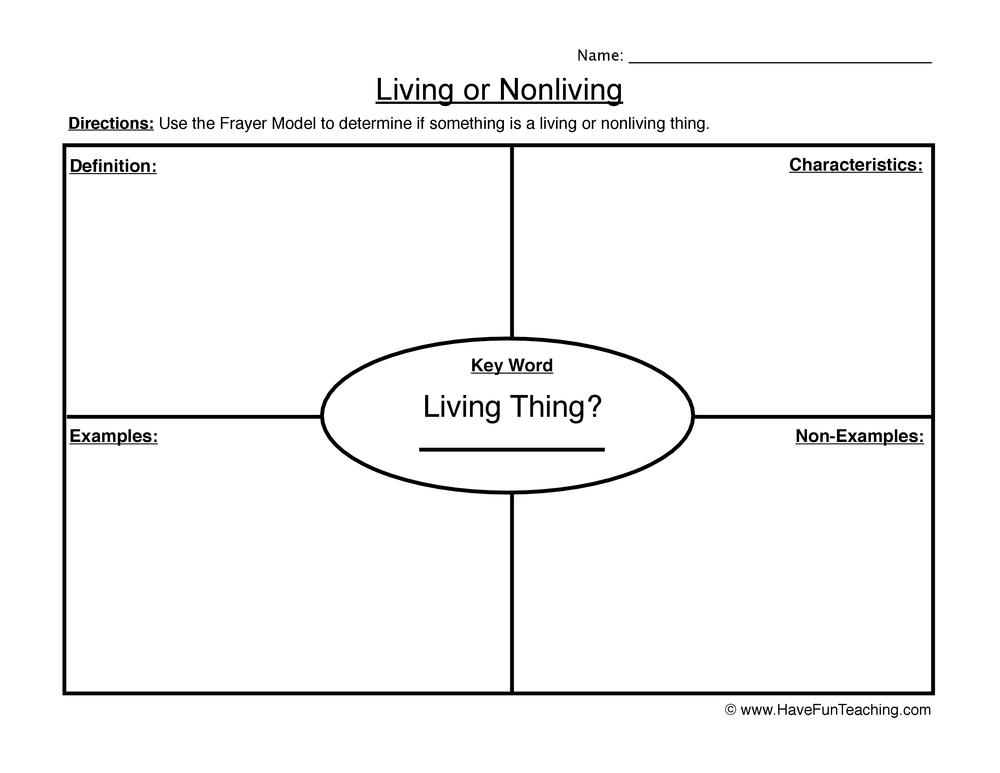 Living Non-Living Frayer Model Worksheet Have Fun Teaching