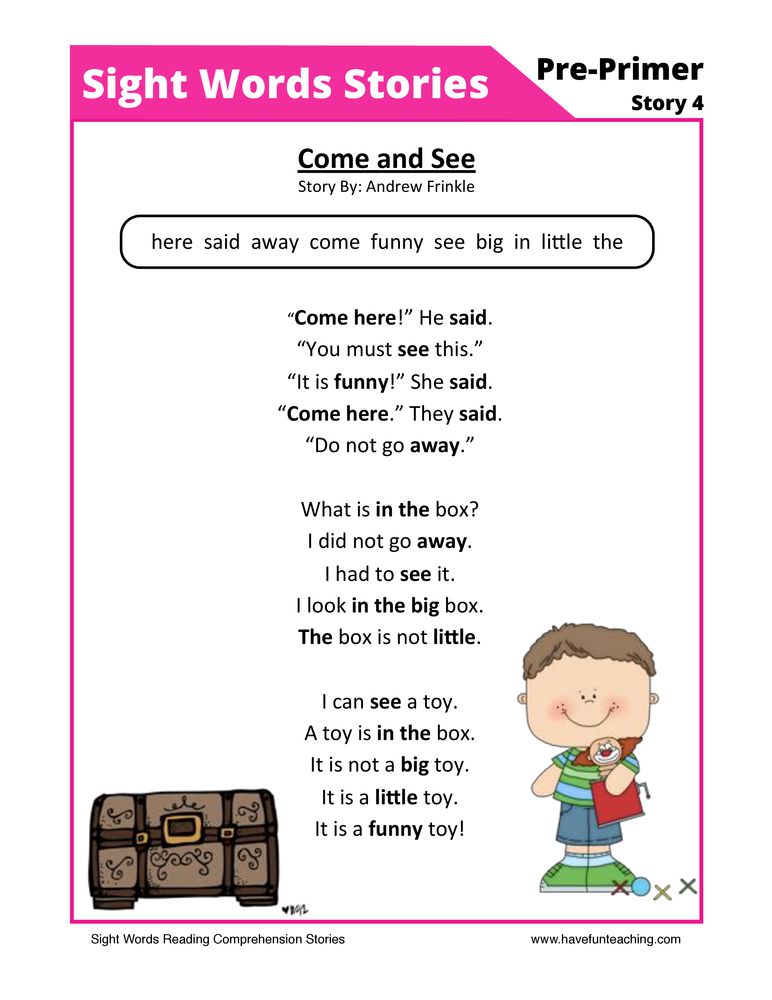 Come and See Pre-Primer Sight Words Reading Comprehension Worksheet