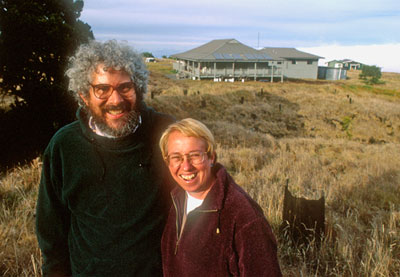 Lenny Freed and Rebecca Cann with Hakalau cabin in background