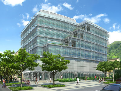 artists rendering of 6-story glass and metal building