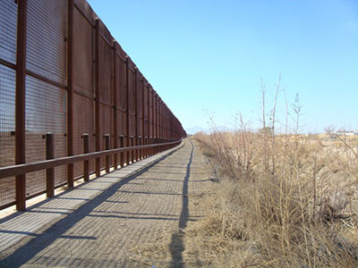 A fence along the Mexican border