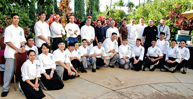 A group of culinary students and chefs