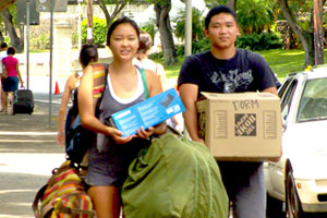 Rachel Look moves into UH Manoa student housing.