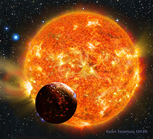 Artist's impression of the planet Kepler-78b and its host star. (Art by Karen Teramura, UH Mānoa Institute for Astronomy)