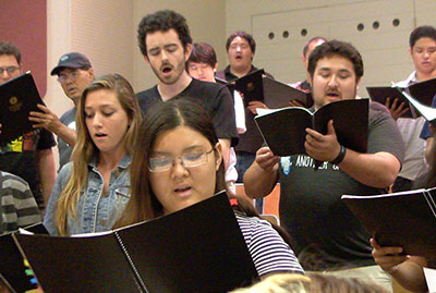 choir singers practicing