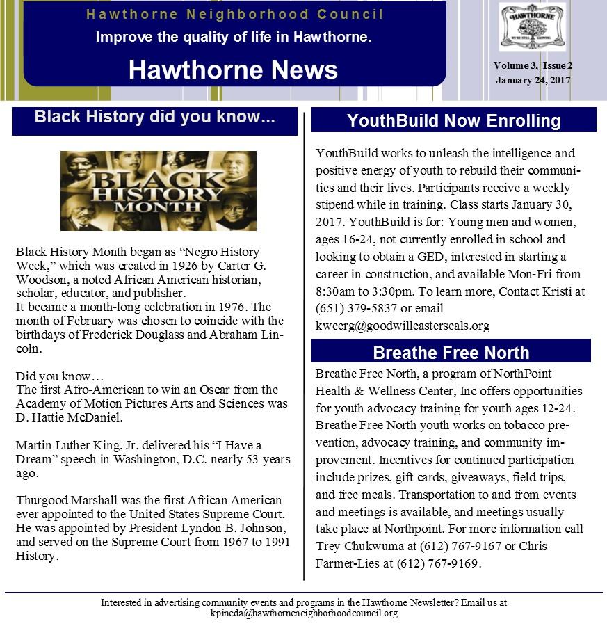 Bi-weekly Newsletter Vol 3 Issue 2 \u2013 Hawthorne Neighborhood Council