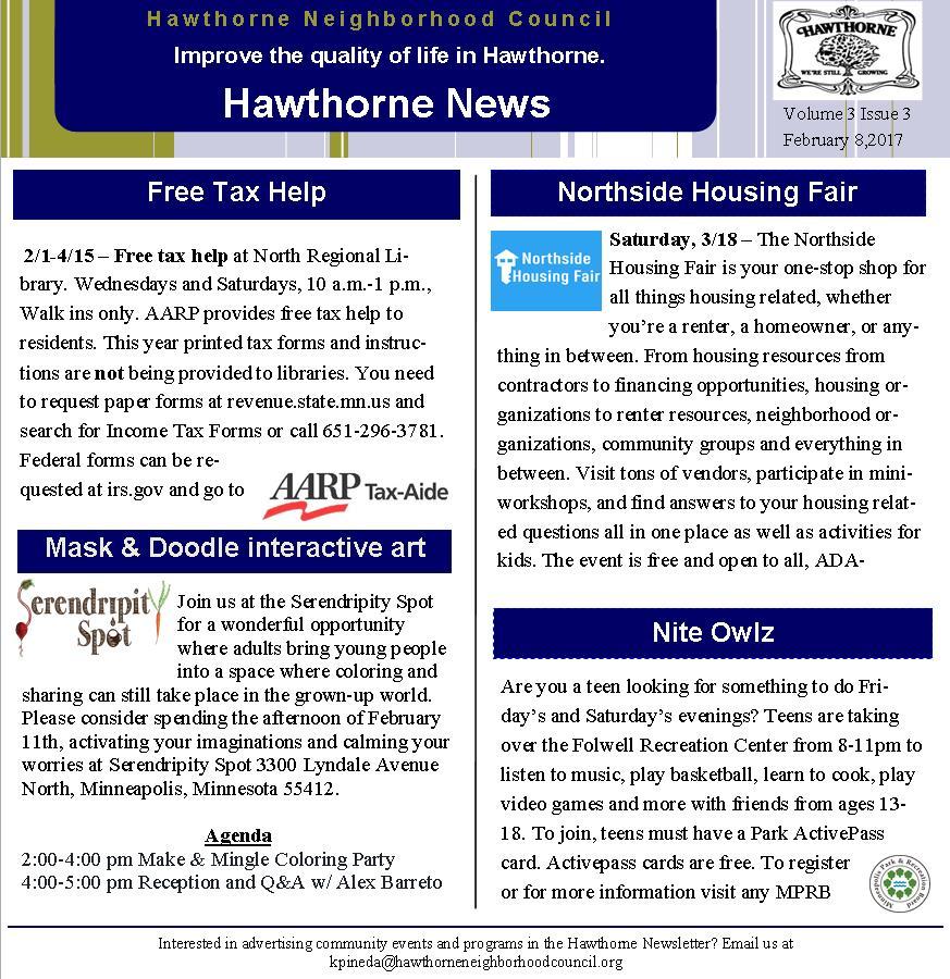 Bi-Weekly News letter Volume 3 Issue 3 \u2013 Hawthorne Neighborhood Council