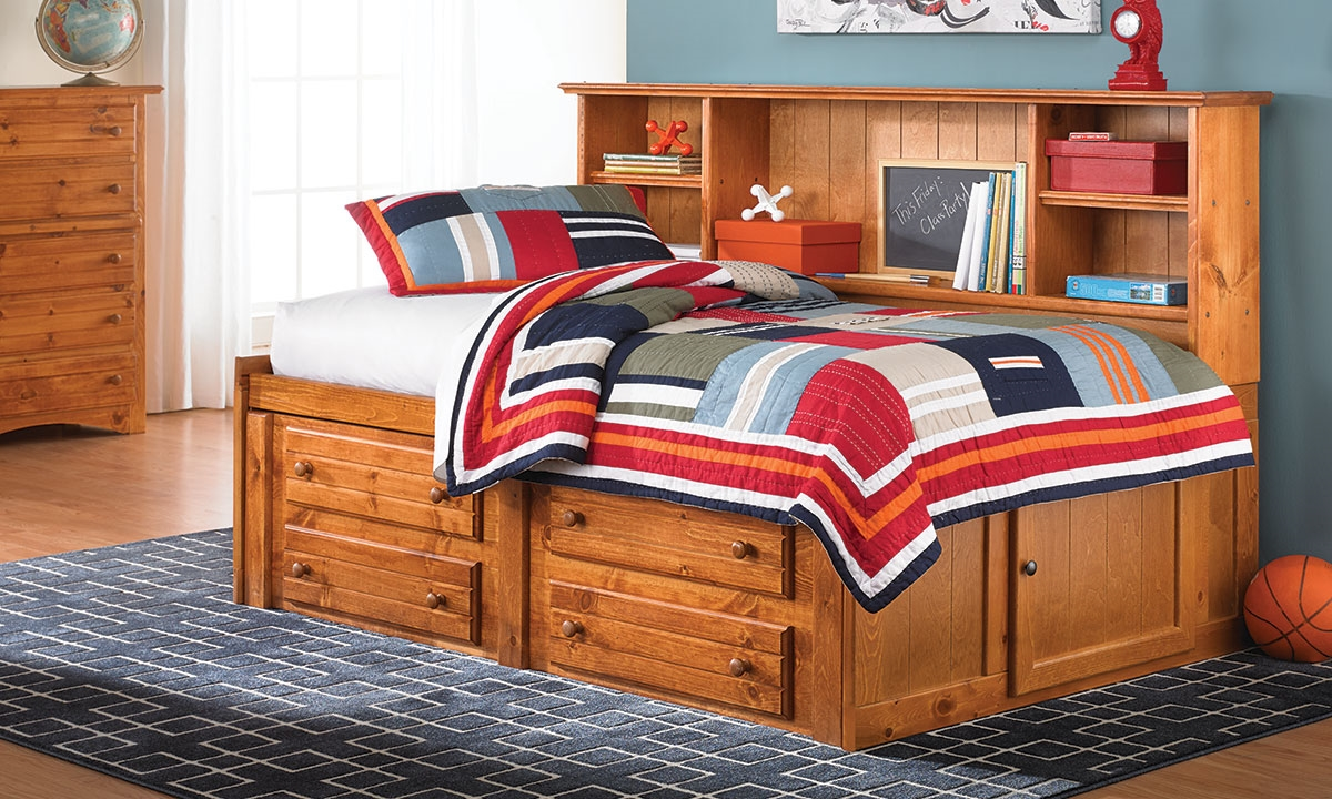 Cheyenne Solid Pine Storage Bed With Bookcase Headboard