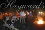 Socialising around a fire on a Hayward's Safari