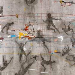 Conversation – Technique mixte marouflé sur toile – 2015, 160 x110