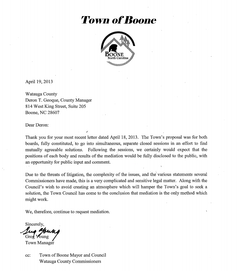 In Most Recent Letter, Town Manager Calls Sales Tax/WHS Sale \u0027Very