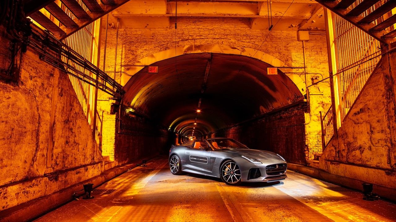 Bmw Car Hd Wallpaper 2016 Jaguar F Type Svr Park Avenue Tunnel Wallpaper Hd