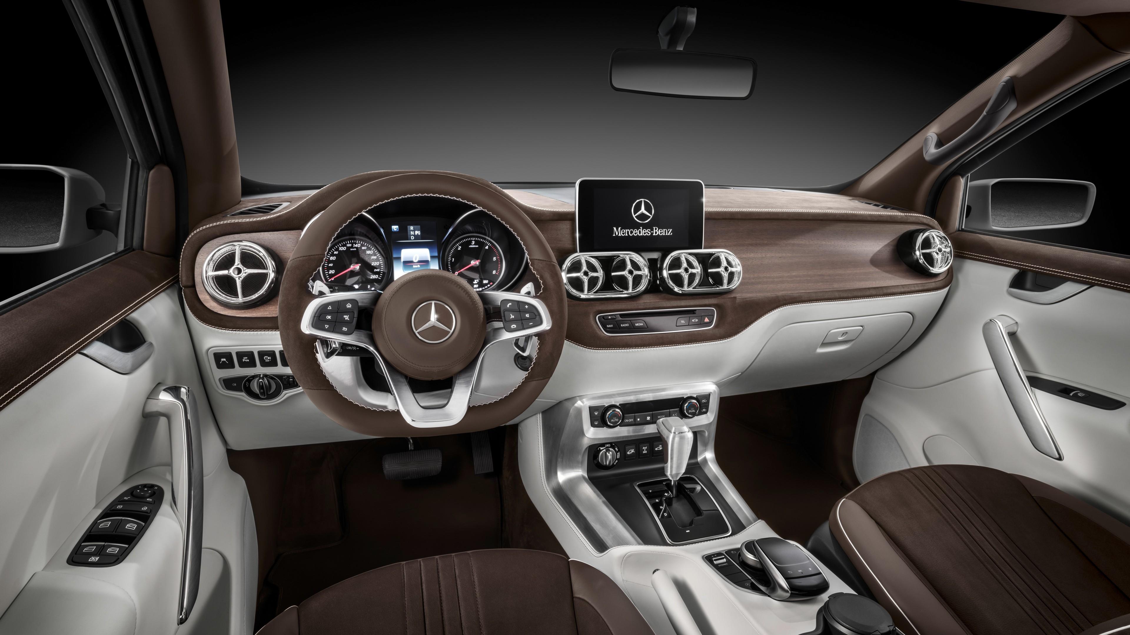 Ultra Hd Desktop Wallpapers 2017 Mercedes Benz X Class Pickup Truck Interior Wallpaper