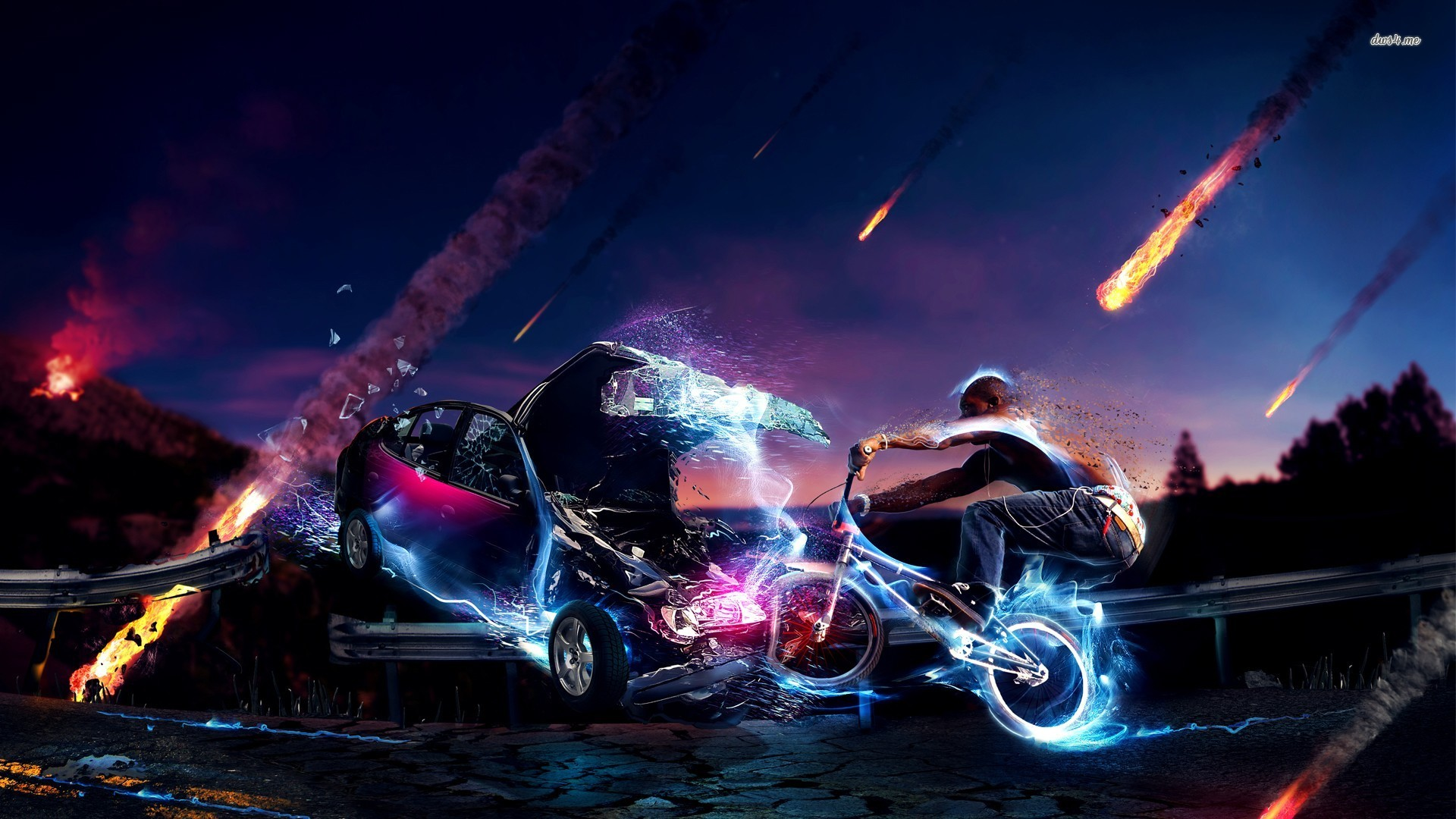1920 Car Synthwave Wallpaper Crashing A Bicycle Wallpaper 1280x800 47550 Hd Wallpapers