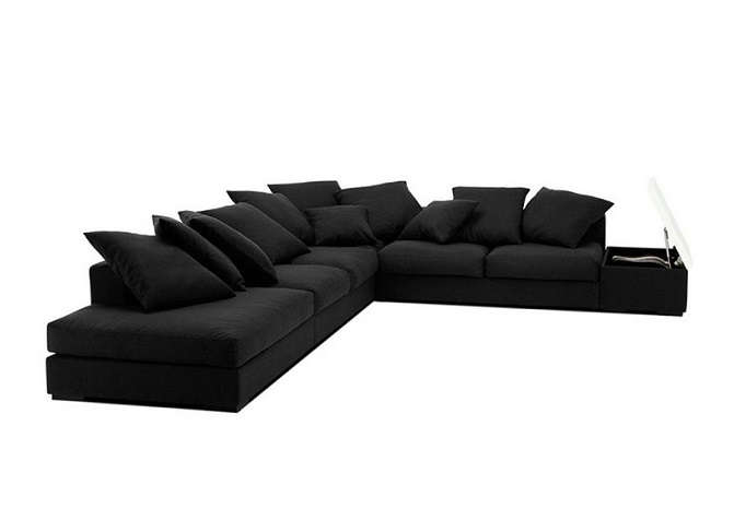 ID: HT SOF14, Black Sectional Sofa