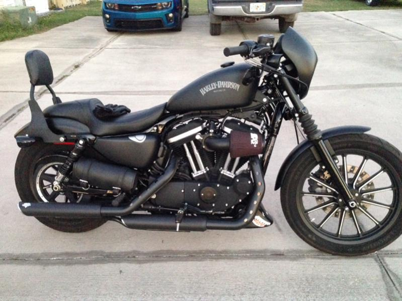 Harley Iron 883 with Passenger Seat Motorcycle Wallpaper