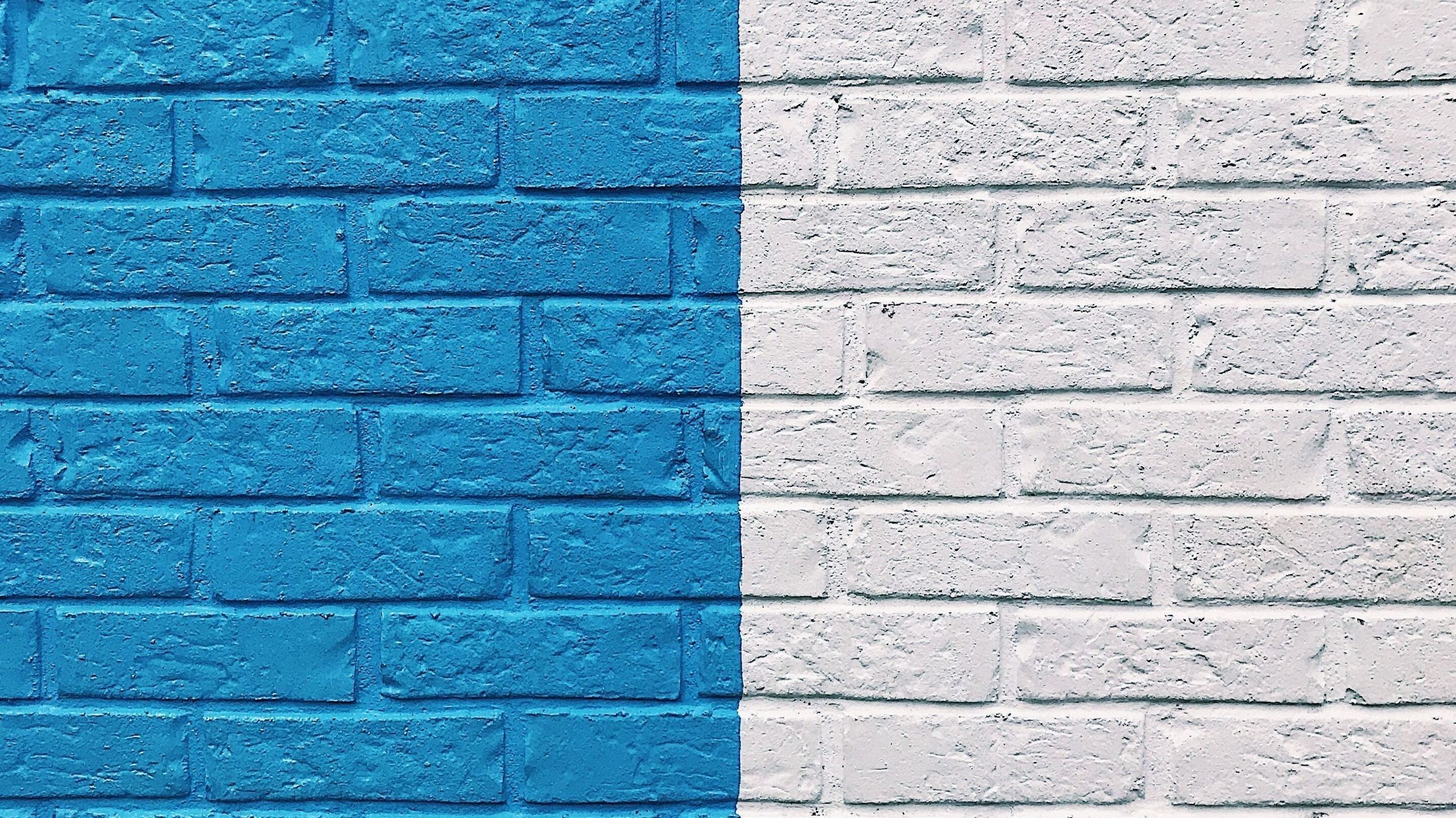 Blue and White Creative Wall Paint HD Wallpaper Background