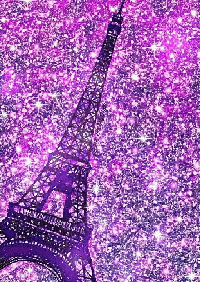 Wallpapers For Girls Iphone 3d Purple Eiffel Tower Iphone Android Glitter Wallpaper Hd