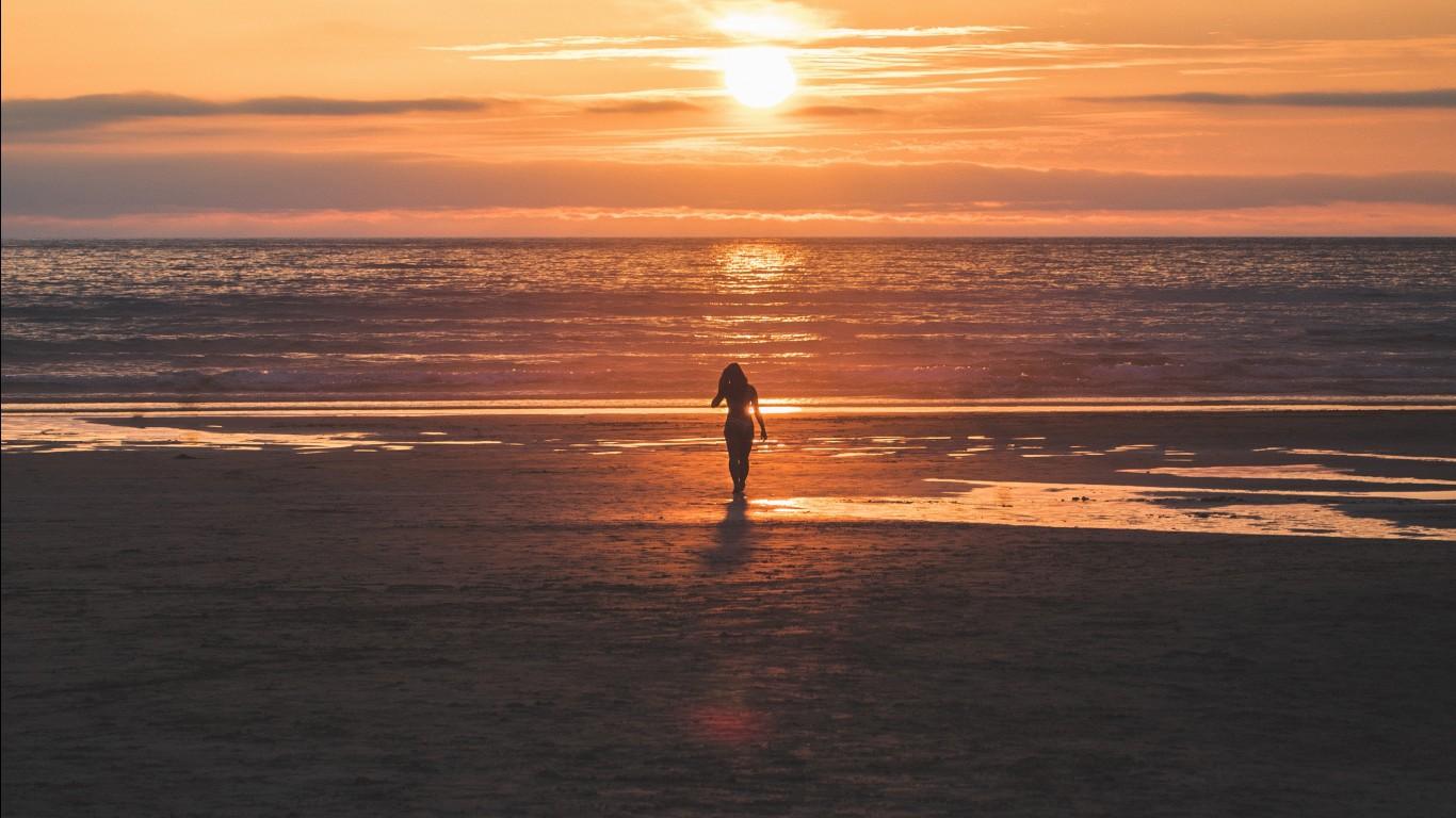 Iphone 6 Beach Wallpaper Beach Sunset Girl 4k Wallpapers Hd Wallpapers Id 27183
