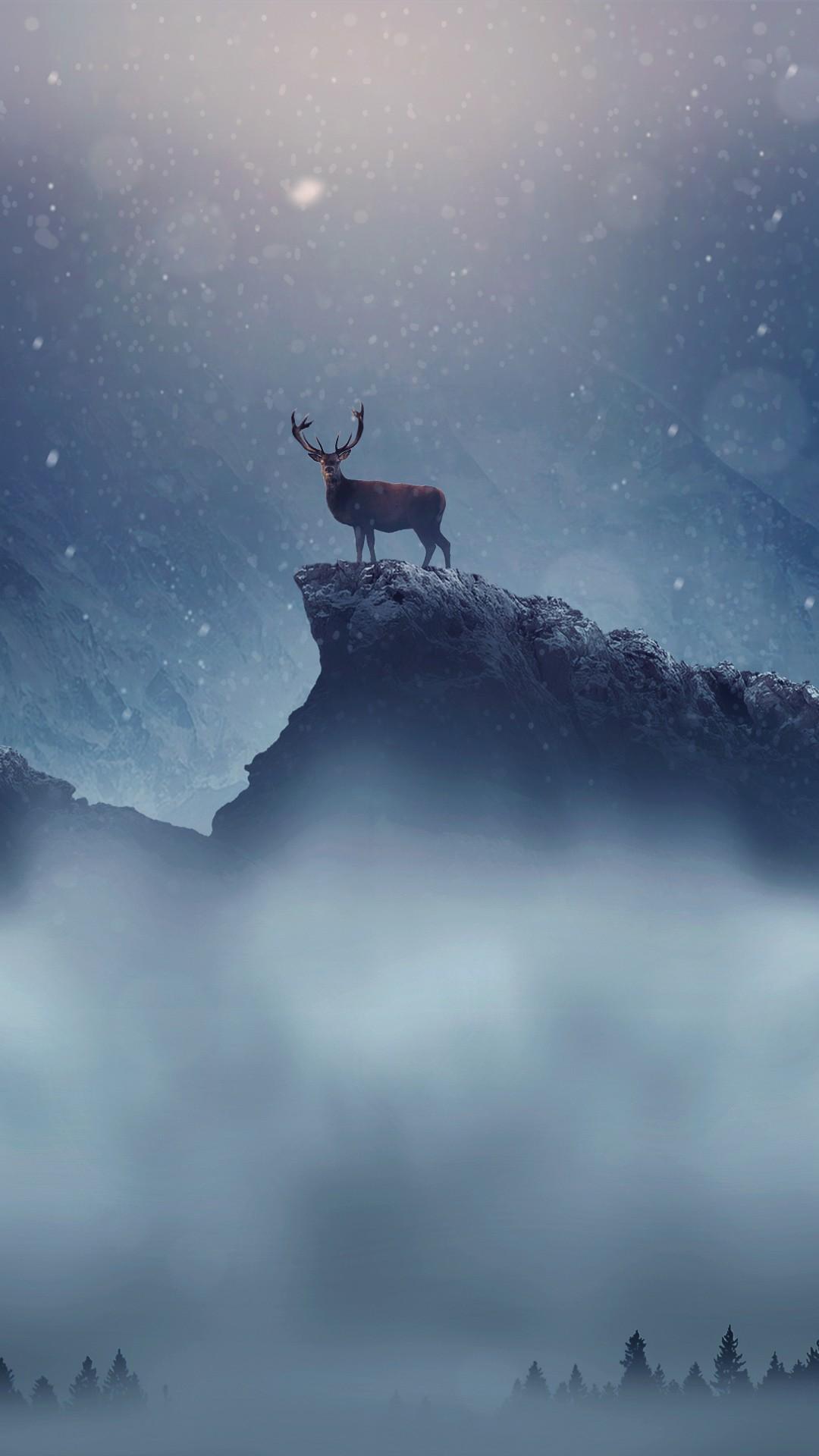 Iphone Hd Retina Wallpapers Christmas Deer Snowfall Wallpapers Hd Wallpapers Id 22613