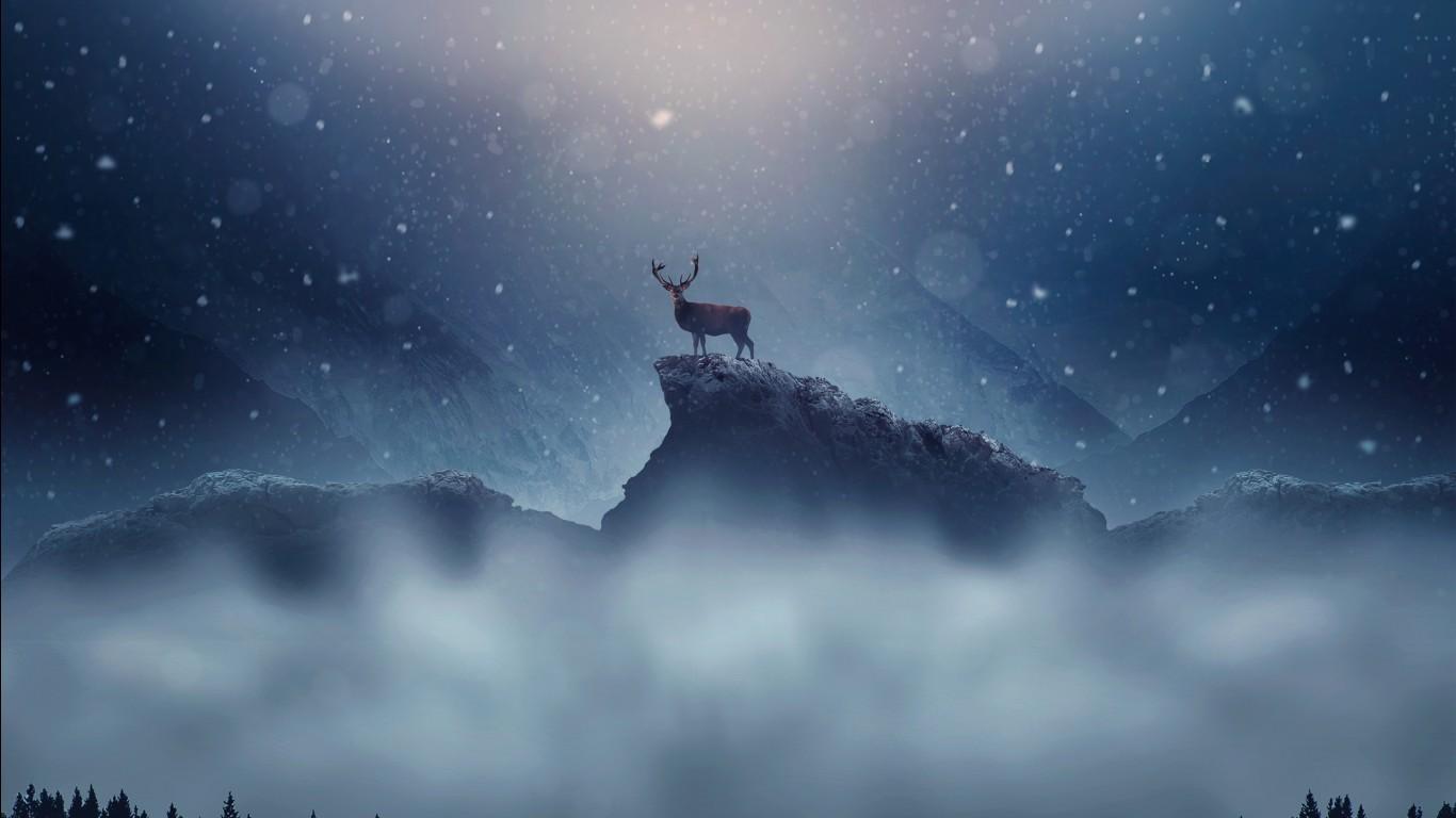 Xmas Cute Wallpaper Christmas Deer Snowfall Wallpapers Hd Wallpapers Id 22613
