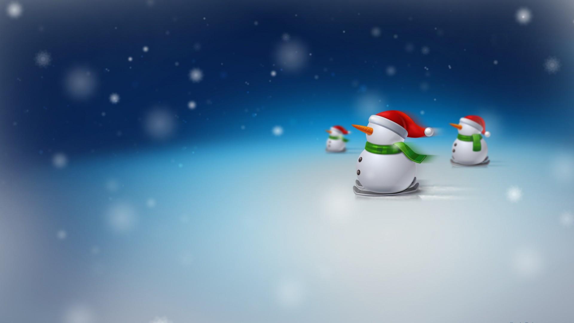 Merry Christmas Desktop Wallpaper 3d Christmas Snowman Santa Hats Wallpapers Hd Wallpapers