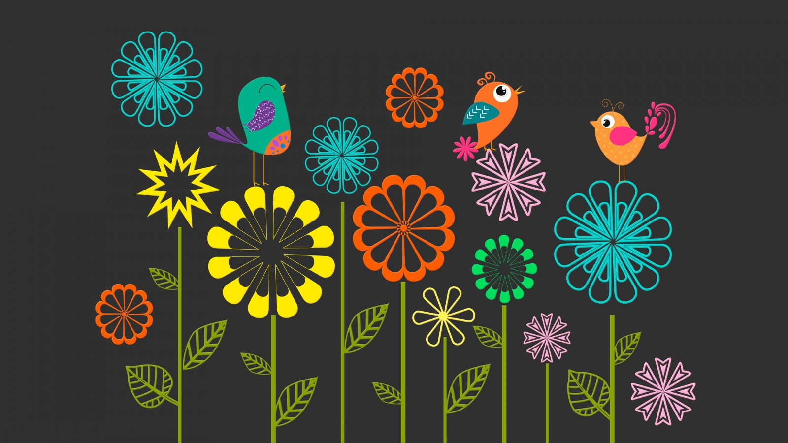 3d Wallpaper For Hp Laptop Colorful Vector Flowers Birds Wallpapers Hd Wallpapers