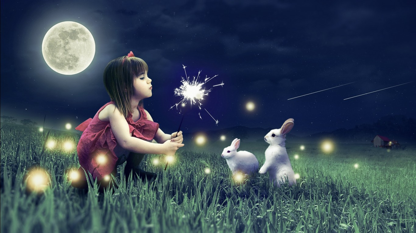 So Cute Baby Girl Wallpapers Cute Girl Cute Rabbits Wallpapers Hd Wallpapers Id 23545