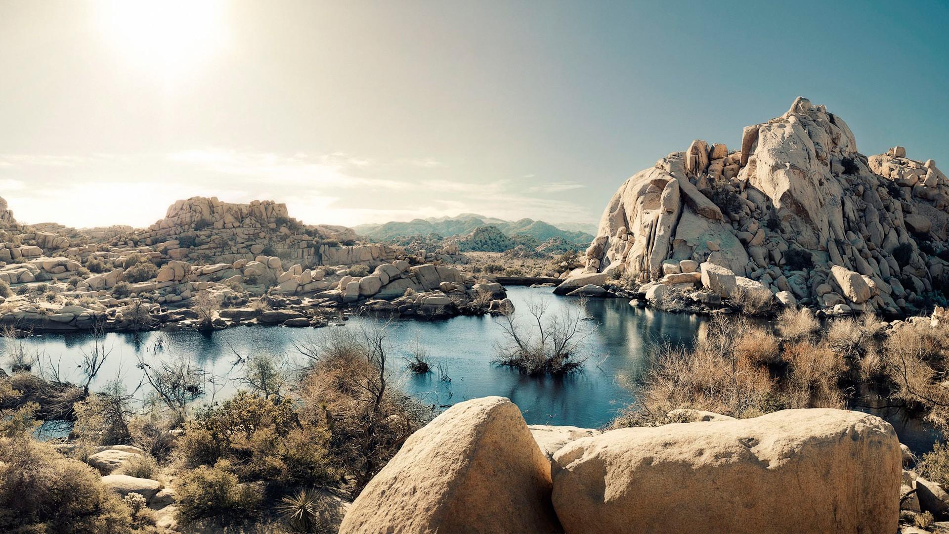 Pc Wallpaper 3d Love Desert Rock Formations Lake National Park California Us