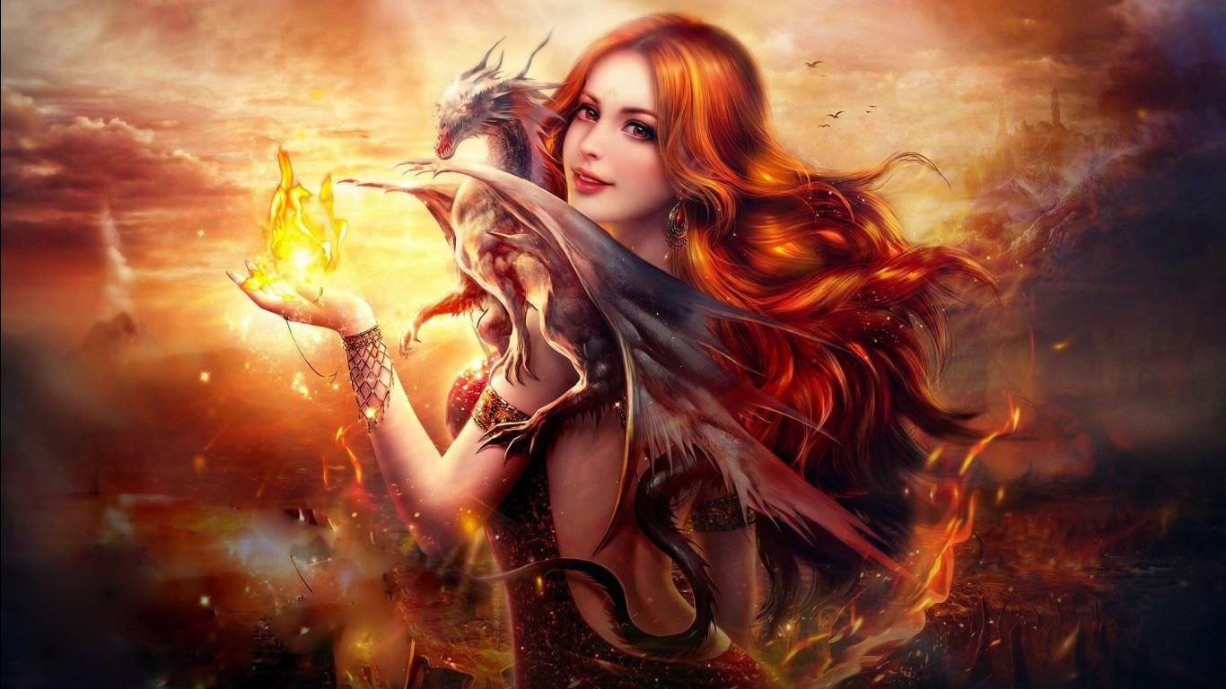 Cgi Girl Wallpapers Dragon Fire Fantasy Girl Wallpapers Hd Wallpapers Id