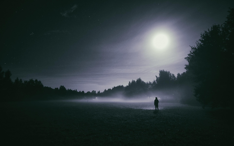 Sweet Sad Girl Hd Wallpaper Foggy Night Moon Wallpapers Hd Wallpapers Id 21727