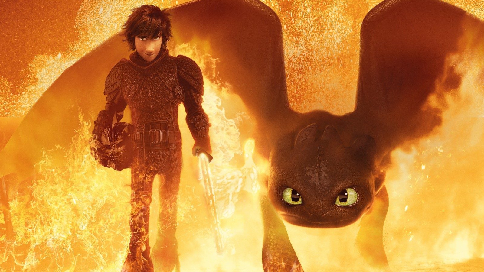Fall Wallpaper Dual Monitor Hiccup Toothless How To Train Your Dragon 3 4k 5k